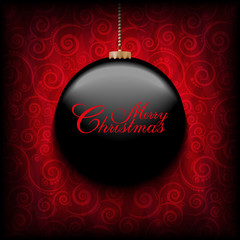 Christmas Card - black bauble on red patterned background