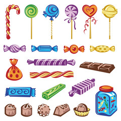 set of different colorful candies