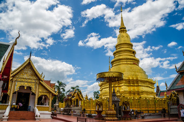 Golden Pagoda in Wat Phra That Hariphunchai temple , Thailand