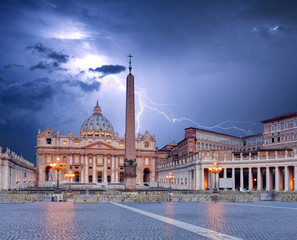 Vatican, Rome with  lightning