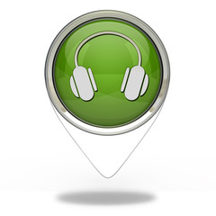 Headset pointer icon on white background