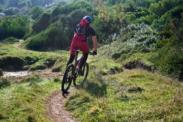 mountain bike through mediterranean maquis