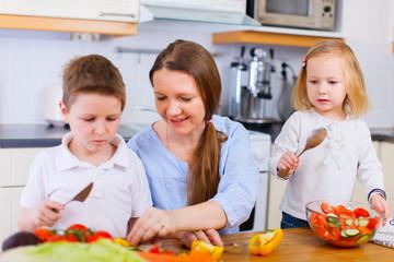 Family at kitchen