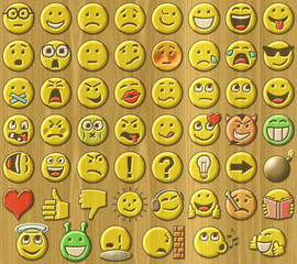 Emoticons relief painting on generated wood texture background