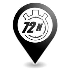 72 heures sur symbole localisation noir
