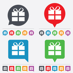 Gift box sign icon. Present symbol.