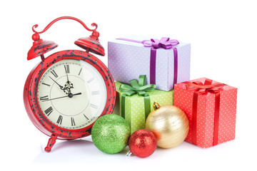 Christmas clock, gift boxes and bauble decor
