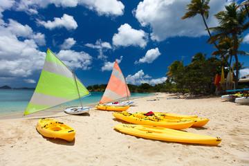 Catamarans at tropical beach