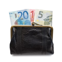 2015 written with euros bank notes in a purse