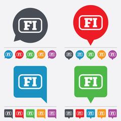 Finnish language sign icon. FI translation.