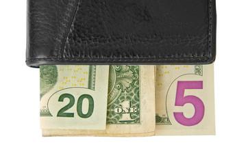 2015 written with dollar bills in a wallet