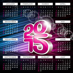 Vector 3d Calendar 2015 illustration on abstract background.