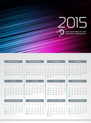 Vector Calendar 2015 illustration on abstract background.