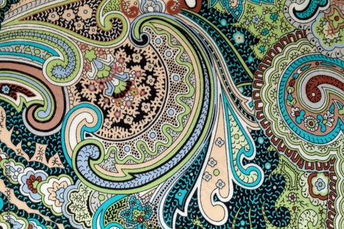 colorful vintage fabric with blue and brown paisley print - 72883545