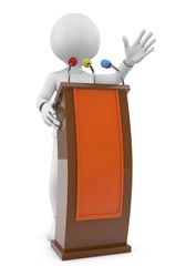 3d people - man, person speaking from a tribune. Speech