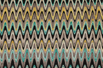 Blue, yellow and grey waves horizontal lines pattern fabric