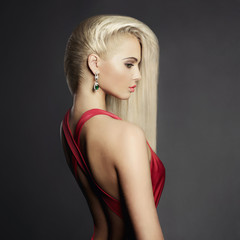 Elegant blonde with long hairs