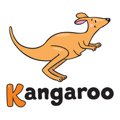 Little kangaroo, illustration for ABC. Alphabet K