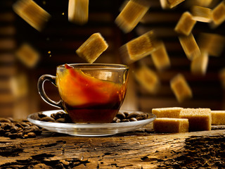 zollette di zucchero di canna e caffe