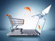 canvas print picture - goldfish in cart - e-commerce concept