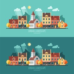Autumn - flat design urban landscape.