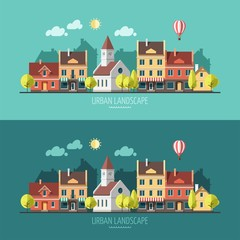 Summer - flat design urban landscape.