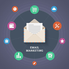 Email marketing illustration in flat style.