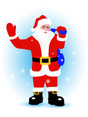 cheerful Santa Claus with gifts