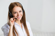 Woman customer service worker, call center smiling operator - 72885949