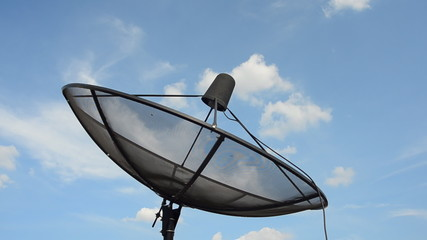 Satellite dish with the movement of cloud background, HD