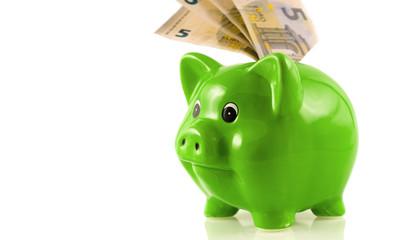 Grünes Sparschwein mit 5 Euro Noten