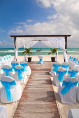 Romantic Wedding  on Sandy Tropical Caribbean Beach.