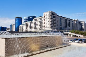 Fountain on Nurzhol Boulevard in Astana. Kazakhstan