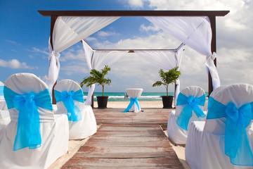 Romantic Wedding  on Sandy Tropical Caribbean Beach.