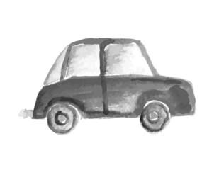 Child's drawing car. Vector illustration.