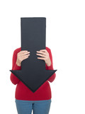 Mature woman hiding behind arrow - health issues maybe. Isolated poster