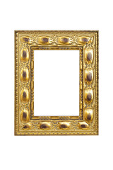 Gold carved picture frame isolated over white with clipping path