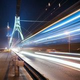 the light trails on the Moscow bridge in Kiev at night