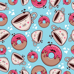 Pattern Coffee and donut