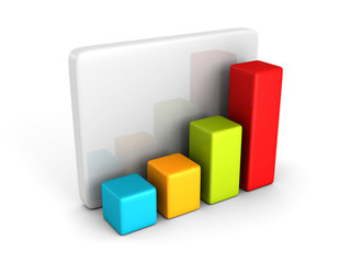 colorful business bar chart graph diagram on white
