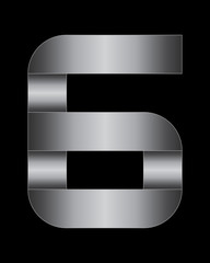 rectangular bent metal font, number 6
