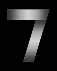rectangular bent metal font, number 7