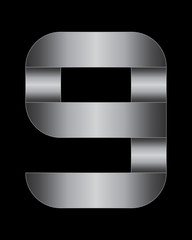 rectangular bent metal font, number 9