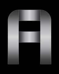 rectangular bent metal font, letter A