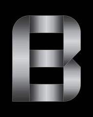 rectangular bent metal font, letter B