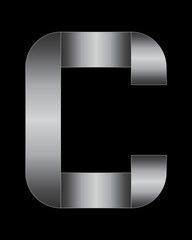 rectangular bent metal font, letter C