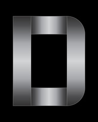 rectangular bent metal font, letter D