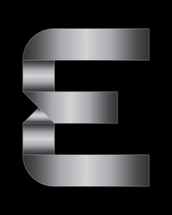 rectangular bent metal font, letter E