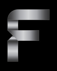 rectangular bent metal font, letter F