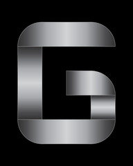 rectangular bent metal font, letter G